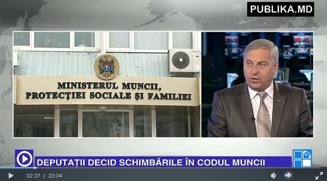 """Mihail Laşcu, preşedinte al Federaţiei a participat la emisiunea """"Publika report"""" cu tema: """"SCHIMBĂRI LA CODUL MUNCII"""""""